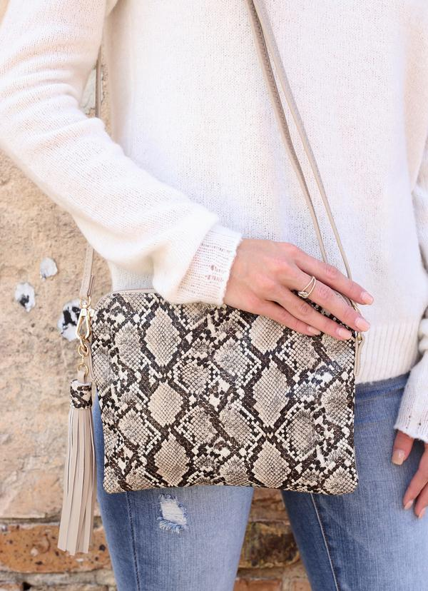 Brown Snake Print Crossbody