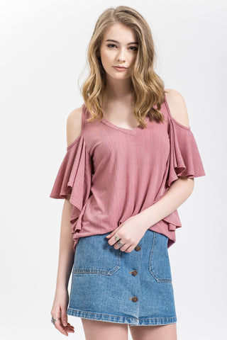Dusty Pink Flutter Sleeve Top
