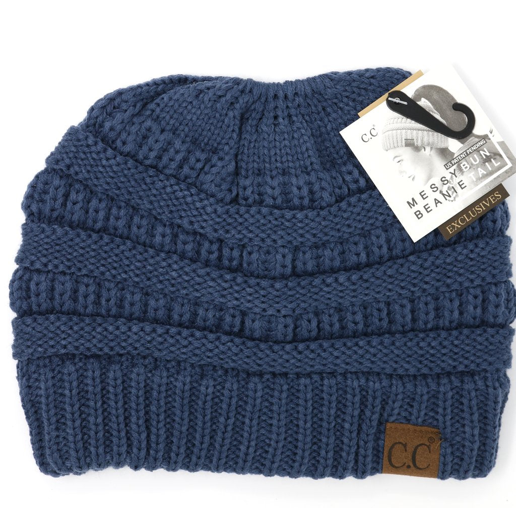 Denim Messy Bun CC Beanie