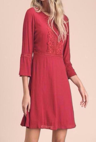 Cherry Red Crochet Panel Dress