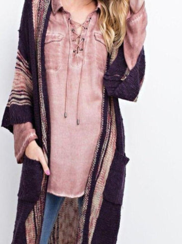 Boho Purple Cardigan
