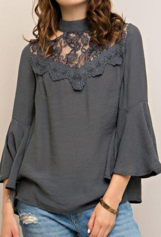 Charcoal Lace Top