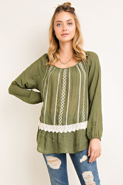 Olive Lace Trim Top