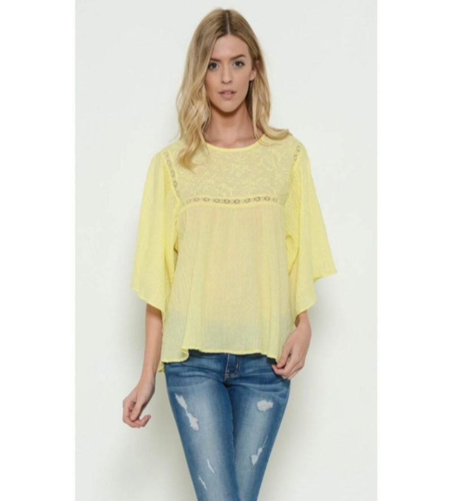 Yellow Lace Trim Top