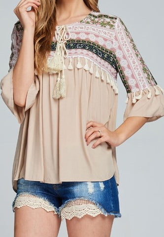 Floral Block Tassel Top
