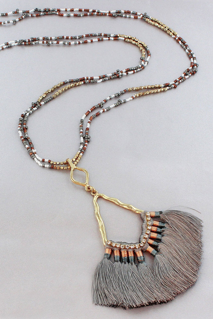 Gray Crystal Tassel Necklace