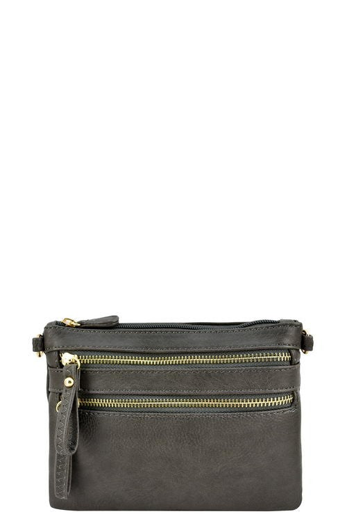 Gray Double Zipper Cross Body Bag