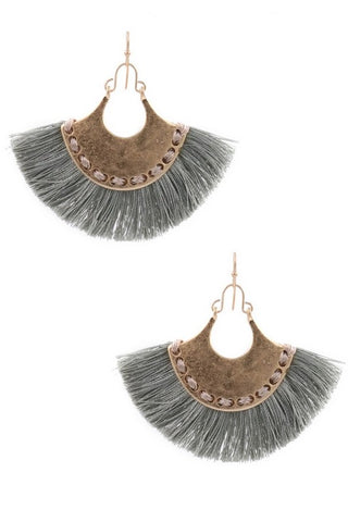 Gray Hammered Earrings