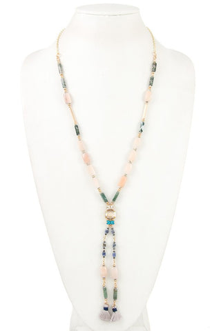 Gray Semi Precious Stone Necklace