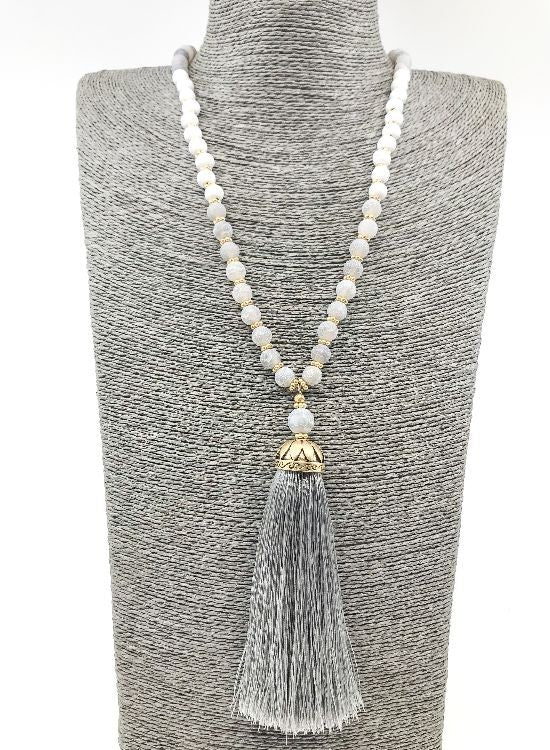 Gray Regal Beaded Necklace