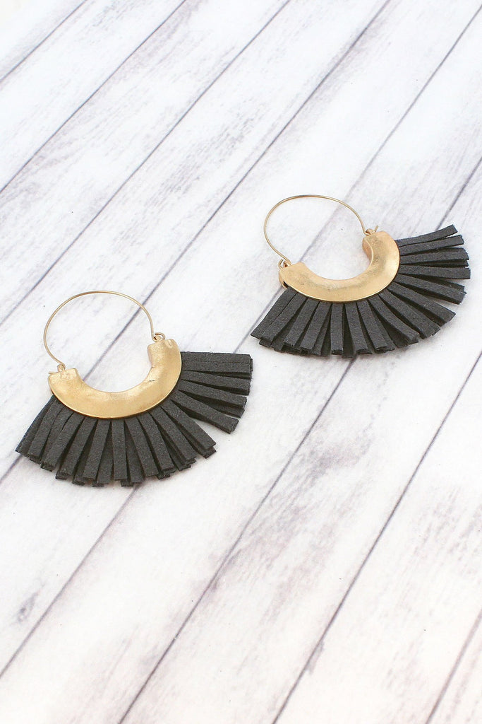 Gray Faux Suede Tassel Earrings