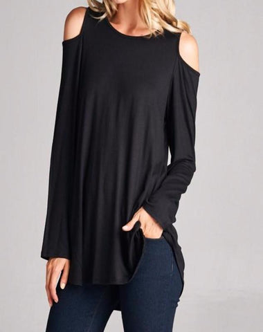 Black Cold Shoulder Tee