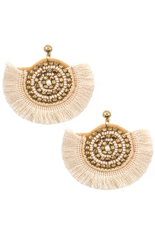 Ivory Statement Tassel Earrings