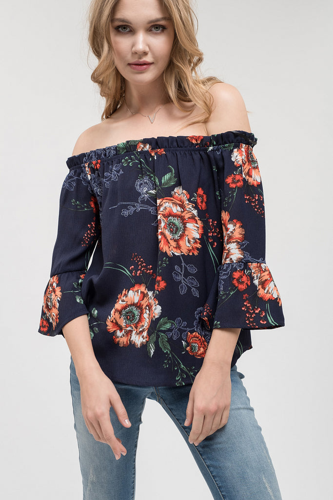Navy Chic Floral Top