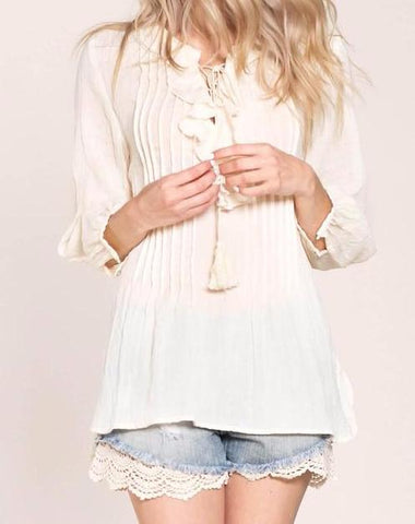 Natural Ruffle Top