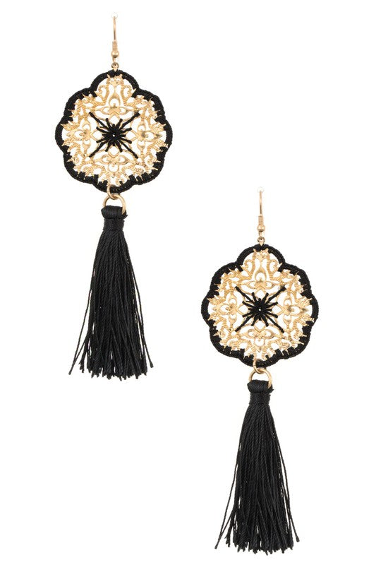 Black Tassel Filigree Earrings