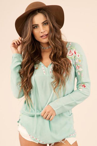 Mint Embroidered Tunic