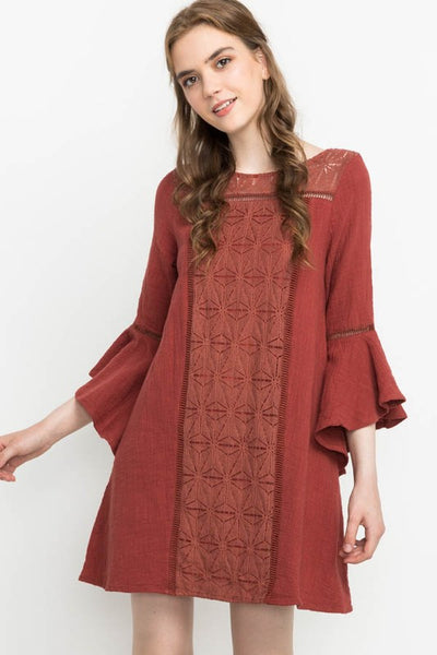 Brick Bell Sleeve Dress