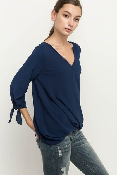 Navy Tie Sleeve Top