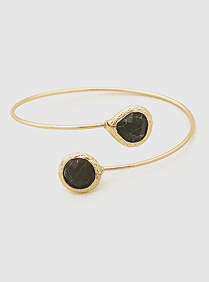 Black Natural Stone Open Cuff Bracelet