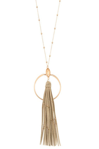 Natural Suede Tassel Necklace