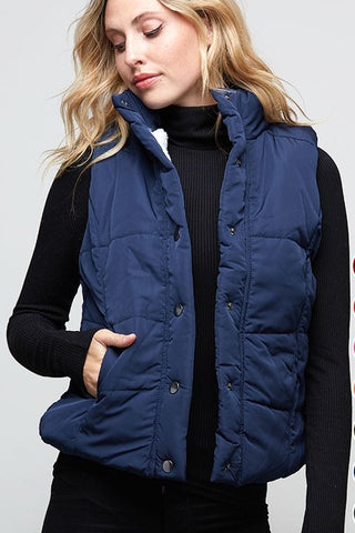 Navy Quilted Cabin Vest