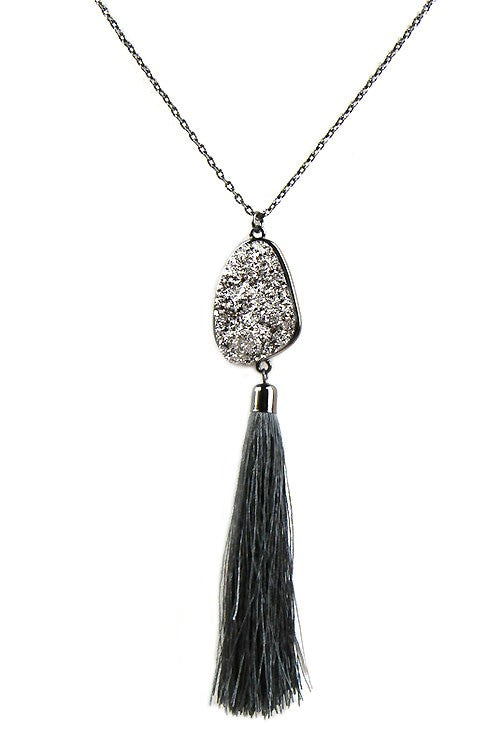 Black Chain Druzy Necklace