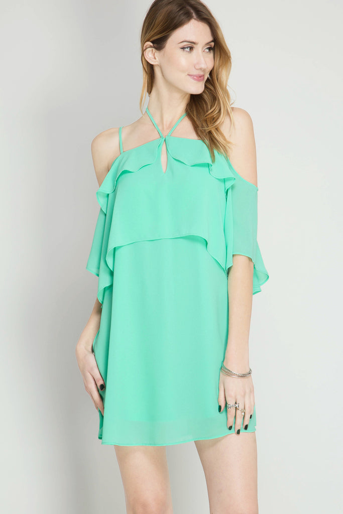 Off The Shoulder Layered Ruffle Dress