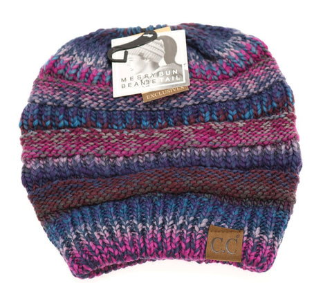 Purple Mix Messy Bun CC Beanie