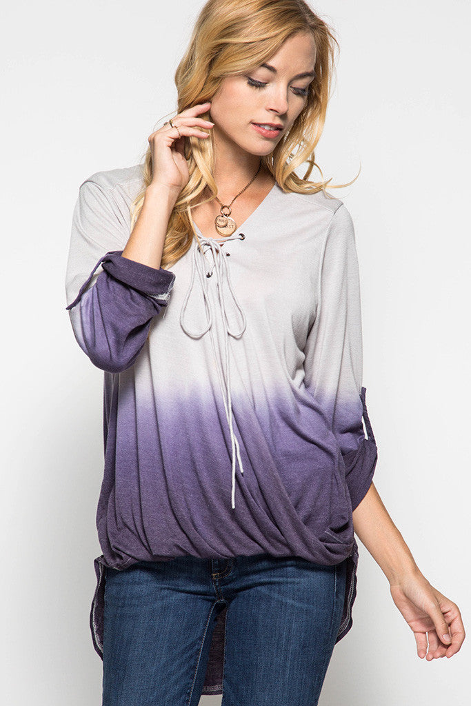 Lace Up Purple Ombre Top
