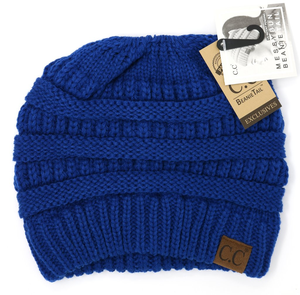 Royal Blue Messy Bun CC Beanie