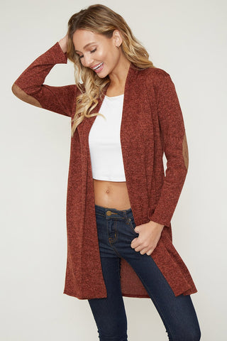 Suede Patch Cardigan