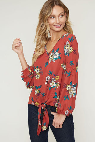 Rust Floral Top