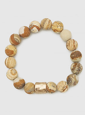 Semi Precious Brown Stone Stretch Bracelet