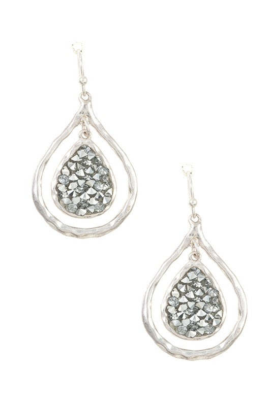 Worn Silver Gem Earrings