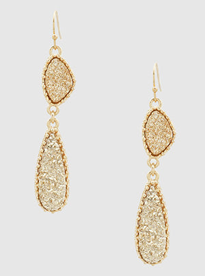 Rose Gold Tear Drop Druzy Earrings