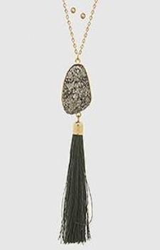Silver Druzy Tassel Necklace