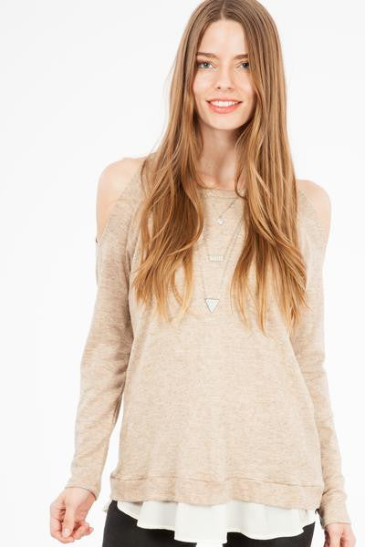 Oatmeal Cold Shoulder Sweater