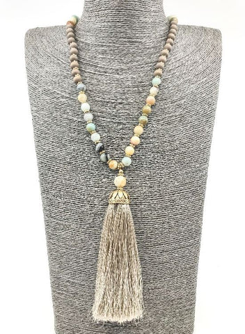 Taupe Regal Beaded Necklace