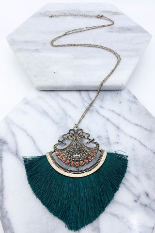 Teal Filigree Necklace