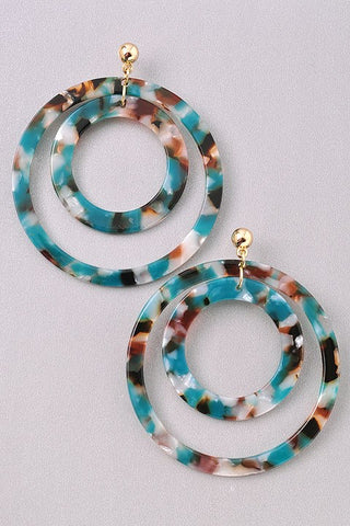 Teal Tortoise Earrings