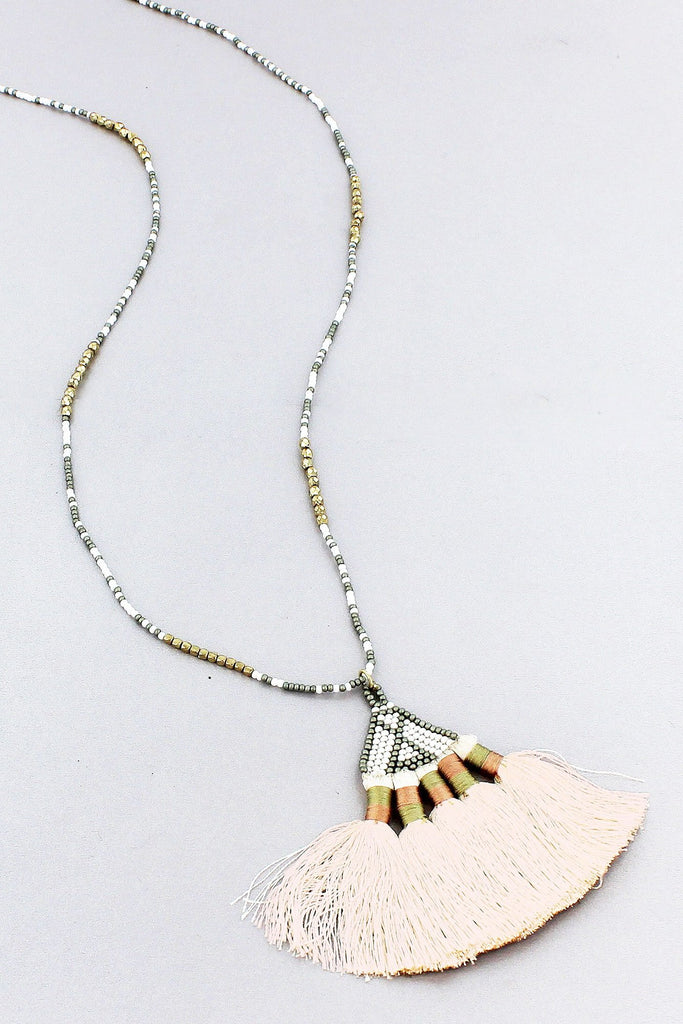 White and Gray Seed Bead Tassel Necklace