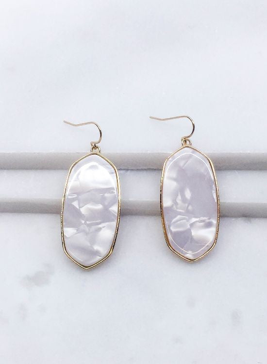 White Tortoise Earrings