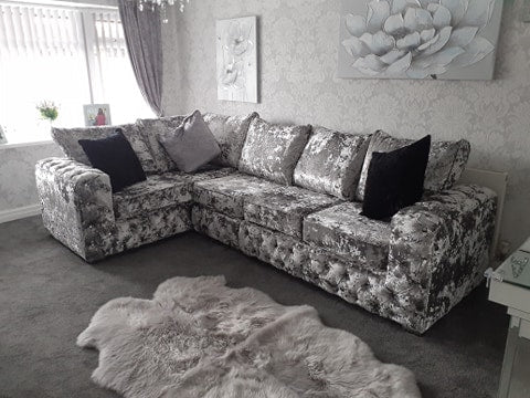 ashton crushed velvet lustro corner sofa chesterfield style