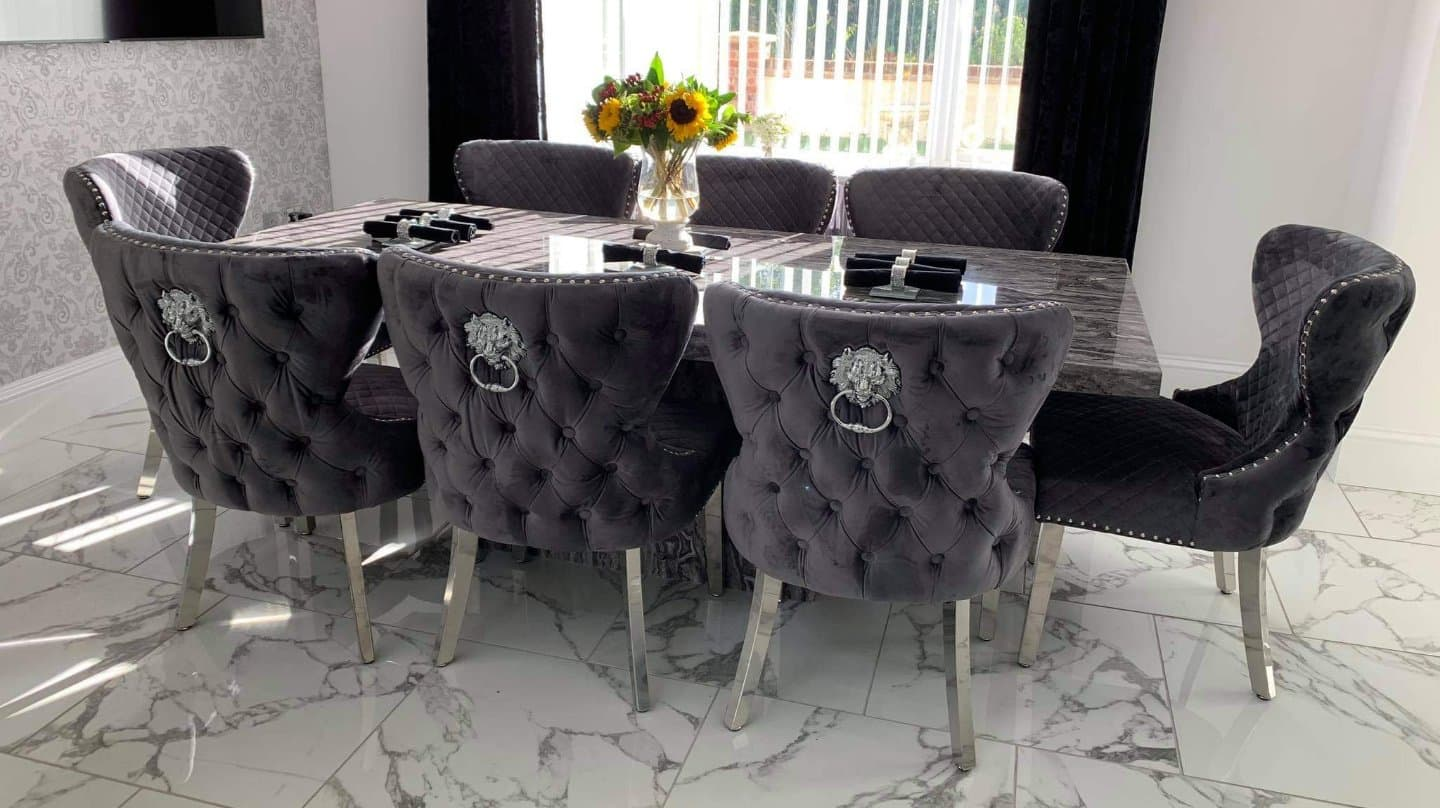 mordern dining chairs lion knocker back grey plush velvet