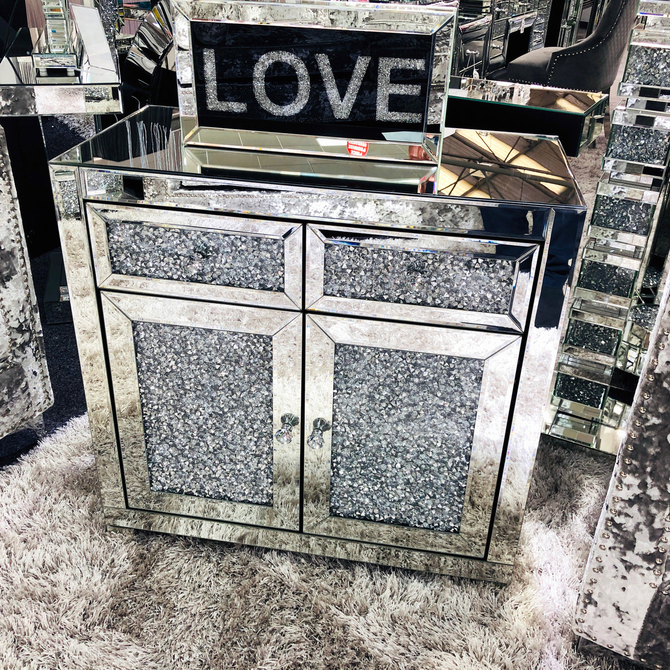 crushed dimond mirrored sideboards, tables, fireplace mirrored living room furniture