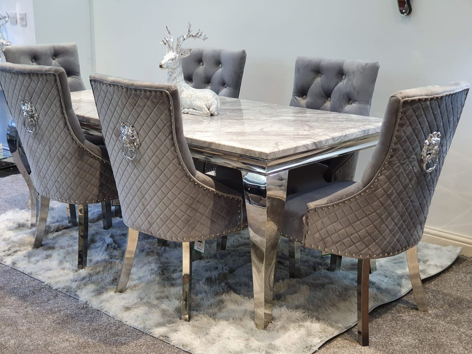 marble dining table majestic dining chairs lion knocker back grey plush velvet