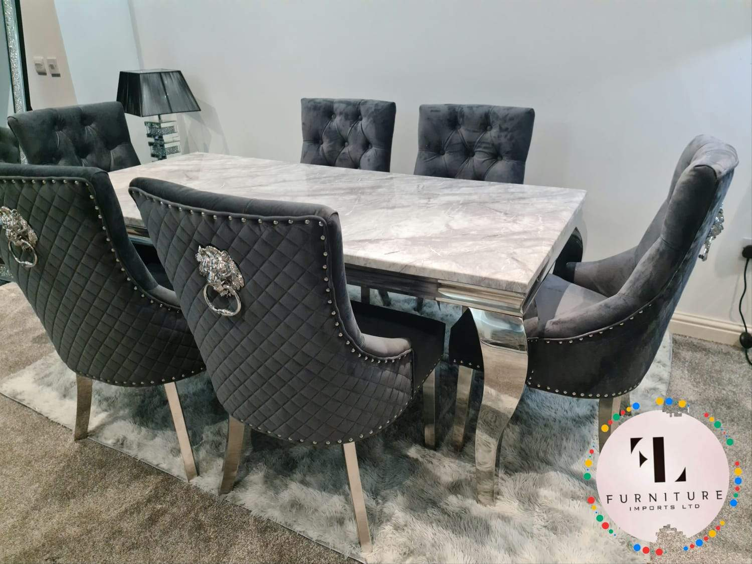 chelsea marble dining table set majestic lion knocker dining chairs grey plush