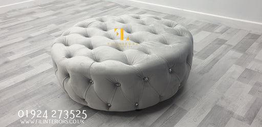 Chesterfield Round Sofa FULL UPHOLSTERY Footstool - Furniture Imports LTD