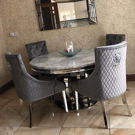 Oracle Grey Round Solid Marble Dining Table ALONE OR SET - Furniture Imports LTD
